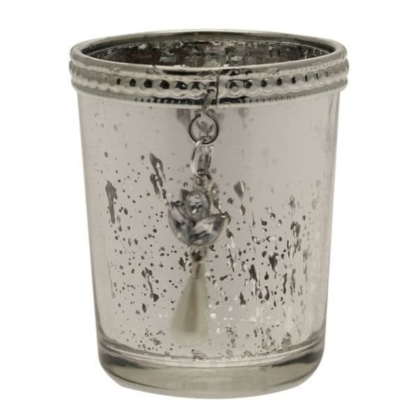 Speckled Glass Candle Holder with Hanging decoration